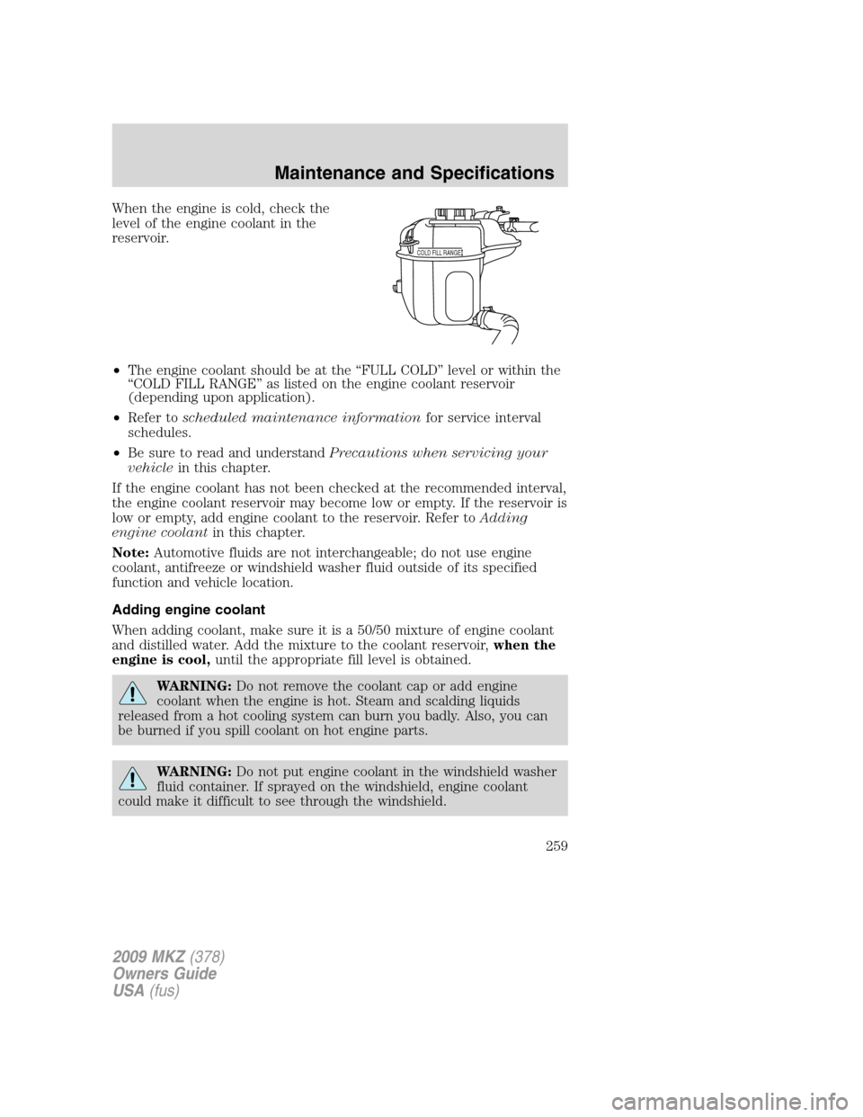 2009 lincoln mkz owners manual